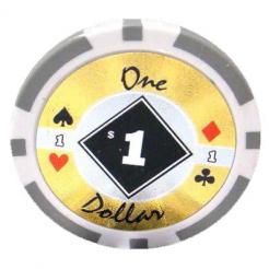 bundle of 25 white black diamond poker chips