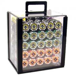 1000 black diamond poker chip set in an acrylic chip carrier with 10 chip trays