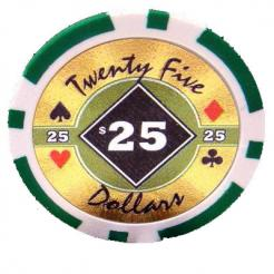 bundle of 25 green black diamond poker chips