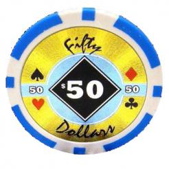 bundle of 25 light blue black diamond poker chips