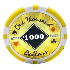bundle of 25 yellow black diamond poker chips