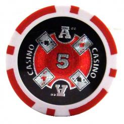bundle of 25 red Casino Ace poker chips