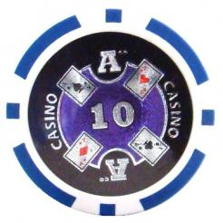 bundle of 25 blue Casino Ace poker chips