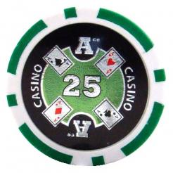 bundle of 25 green Casino Ace poker chips