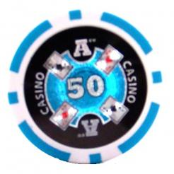 bundle of 25 light blue Casino Ace poker chips