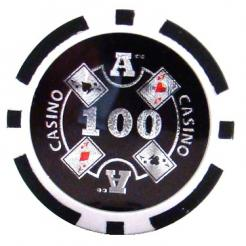 bundle of 25 black Casino Ace poker chips
