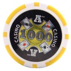 bundle of 25 yellow Casino Ace poker chips