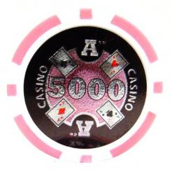bundle of 25 pink Casino Ace poker chips
