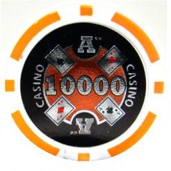 bundle of 25 orange Casino Ace poker chips