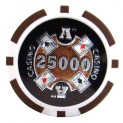 bundle of 25 brown Casino Ace poker chips