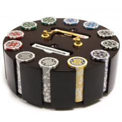 300 casino ace poker chip set in a wooden chip carousel