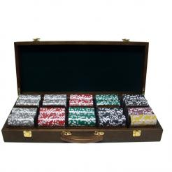 500 casino ace poker chip set in a walnut case with removable chip trays