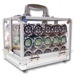 600 casino ace poker chip set in an acrylic chip carrier with 6 chip trays