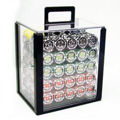 1000 casino ace poker chip set in an acrylic chip carrier with 10 chip trays