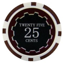 bundle of 25 brown eclipse 25 cent poker chips