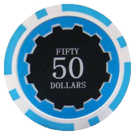 25 Light Blue Eclipse Poker Chips 50 Chip Value Cpec