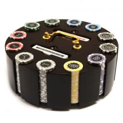 300 eclipse poker chip set in a wooden chip carousel