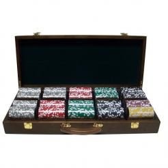 500 eclipse poker chip set in a walnut case with 5 removable chip trays