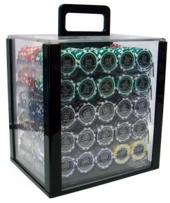 1000 eclipse poker chip set in an acrylic poker chip carrier with 10 chip trays