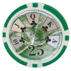 bundle of 25 green high roller poker chips