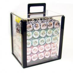 1000 high roller poker chip set in an acrylic poker chip carrier with 10 chip trays