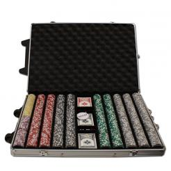 1000 high roller poker chip set in a rolling aluminum case