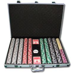 1000 high roller poker chip set in an aluminum case