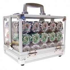 600 high roller poker chip set in an acrylic chip carrier with 6 chip trays