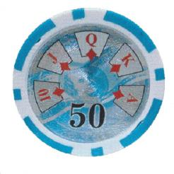 bundle of 25 light blue high roller poker chips