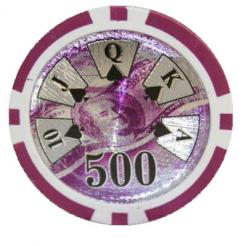 bundle of 25 purple high roller poker chips