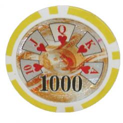 bundle of 25 yellow high roller poker chips
