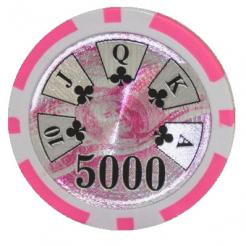 bundle of 25 pink high roller poker chips
