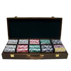 500 high roller poker chip set in a walnut case with 5 removable chip trays