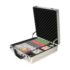500 high roller poker chip set in a claysmith aluminum case with 5 chip trays