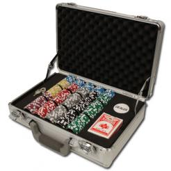 300 high roller poker chip set in a claysmith aluminum case with 3 chip trays
