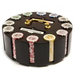 300 high roller poker chip set in a wooden chip carousel