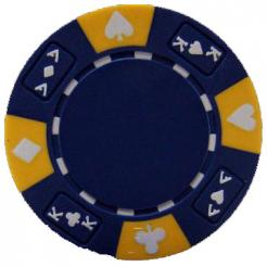 bundle of 25 blue ace king suited poker chips