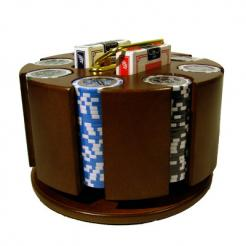 200 high roller poker chip set in a wooden chip carousel