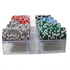 200 high roller poker chip set in an acrylic chip tray