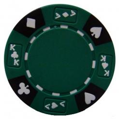 bundle of 25 green ace king suited poker chips