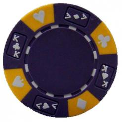 bundle of 25 purple ace king suited poker chips