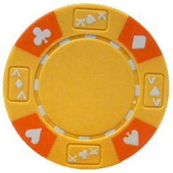 bundle of 25 yellow ace king suited poker chips