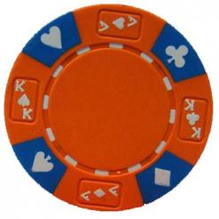 bundle of 25 orange ace king suited poker chips