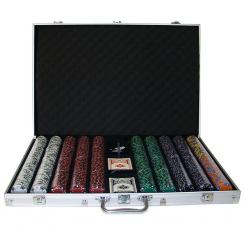 1000 ace king suited poker chip set in an aluminum case