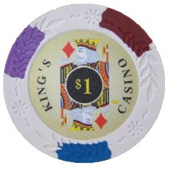 bundle of 25 white kings casino poker chips