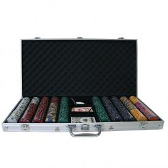 750 ace king poker chip set in an aluminum case