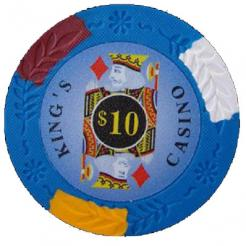 bundle of 25 blue kings casino poker chips