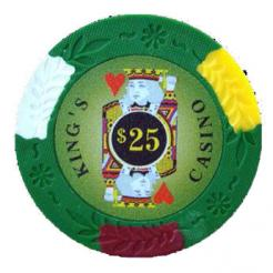 bundle of 25 green kings casino poker chips