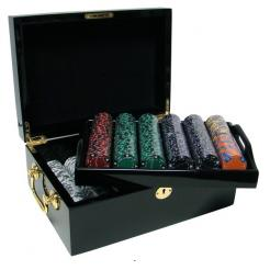 500 ace king suited poker chip set in a mahogany case