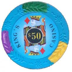 bundle of 25 light blue kings casino poker chips
